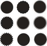 Ensemble de starburst de vecteur, insignes de rayon de soleil Noir sur la couleur blanche Une collection de différents types icôn Images stock