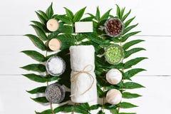 Ensemble de station thermale avec la serviette et le savon sur le fond en bois blanc avec les feuilles vertes Photo libre de droits