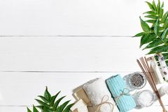 Ensemble de station thermale avec la serviette et le savon sur le fond en bois blanc avec les feuilles vertes Photographie stock libre de droits