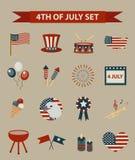 Ensemble de style de vintage de Jour de la Déclaration d'Indépendance patriotique d'icônes de l'Amérique 4 juillet collection d'é Images stock