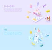 Ensemble de style des impôts 3d de calcul Illustration Libre de Droits