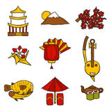 Ensemble de style dessiné d'icônes à disposition sur le thème du Japon Photos stock