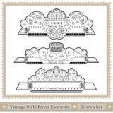 Ensemble de style royal de casques fleuris Photo stock