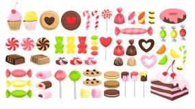 Ensemble de sucrerie Collection de dessert doux Lucette illustration stock
