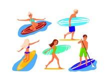 Ensemble de surfers illustration de vecteur
