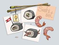 Ensemble de sushi peint sur des autocollants Images stock