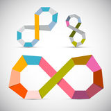 Ensemble de symbole coloré d'infini de papier de vecteur Photos libres de droits