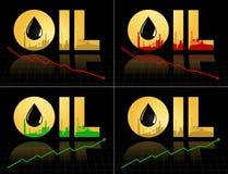 Ensemble de symbole des prix de pétrole brut avec le graphique Images libres de droits