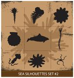 Animaux de mer abstraits de silhouette d'isolement Images stock