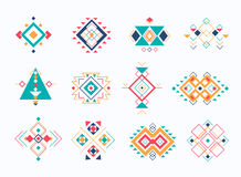 Ensemble de symboles aztèques tribals d'ethno collection ethnique géométrique colorée d'éléments de décor Image libre de droits