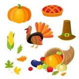 Ensemble de symboles colorés de thanksgiving Photographie stock