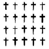 Ensemble de symboles croisé grunge, croix chrétiennes, signes religieux et icônes illustration de vecteur