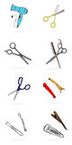 Ensemble de symboles d'équipement de coiffure d'isolement sur le fond blanc Photographie stock libre de droits