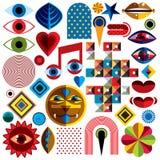 Ensemble de symboles d'art abstrait de vecteur, graphique moderne différent de style Photographie stock