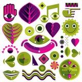 Ensemble de symboles d'art abstrait de vecteur, graphique moderne différent de style illustration stock