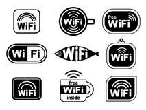 Ensemble de symboles d'autocollants de wifi Photographie stock libre de droits