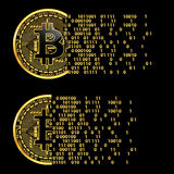 Ensemble de symboles d'or de crypto bitcoin de devise Photographie stock libre de droits