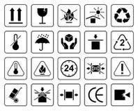 Ensemble de symboles d'emballage Photographie stock libre de droits
