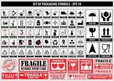 Ensemble de symboles d'emballage illustration stock
