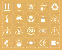 Ensemble de symboles d'emballage comprenant fragile, pour se protéger contre Image stock