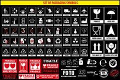 Ensemble de symboles d'emballage, vaisselle, plastique, symboles fragiles, symboles de carton illustration libre de droits