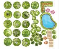 Ensemble de symboles de cime d'arbre, pour la conception architecturale ou de paysage Images libres de droits