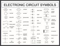 Ensemble de symboles de circuit électronique Photos stock