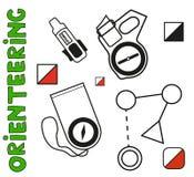 Ensemble de symboles de course d'orientation de sports Plat, Photo stock