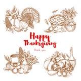 Ensemble de symboles de croquis de vecteur de Thanksgiving Images libres de droits