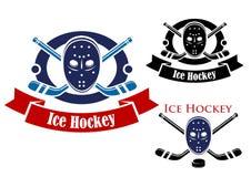 Ensemble de symboles de hockey sur glace Image libre de droits