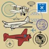 Ensemble de symboles de la poste aérienne et d'avion Photo stock