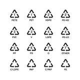 Ensemble de symboles de réutilisation en plastique, vecteur Photos libres de droits
