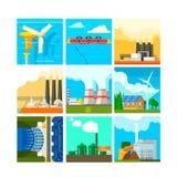 Ensemble de symboles de sources d'énergie Illustration de vecteur Photographie stock