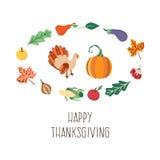 Ensemble de symboles de thanksgiving de vecteur d'isolement Image stock