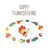Ensemble de symboles de thanksgiving de vecteur d'isolement Photo stock