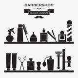 Ensemble de symboles de vintage de raseur-coiffeur Images libres de droits