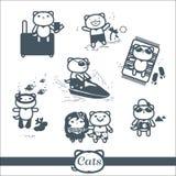 Ensemble de symboles des icônes 7 de chats : vacances Photographie stock
