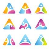 Ensemble de symboles et d'icônes triangulaires de forme physique. Images libres de droits