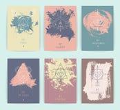 Ensemble de symboles géométriques d'alchimie de vecteur illustration stock
