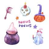 Ensemble de symboles de Halloween de choses de Witchy Illustration d'aquarelle Abracadabra ! illustration libre de droits