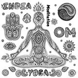 Ensemble de symboles indiens ornementaux Image libre de droits