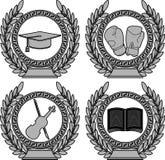 Ensemble de symboles de l'accomplissement Image stock