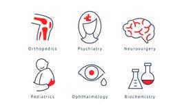 Ensemble de symboles médical de spécialisation, orthopédie, psychiatrie, neurochirurgie, biochimie, pédiatrie, ophthalmologie illustration stock