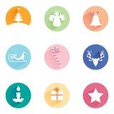 Ensemble de symboles de Noël : arbre, ange, cadeau, étoile, bougie, cloche, dextérité, renne, barre de bougie, Images libres de droits