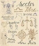 Ensemble de symboles pour la Balance ou les échelles de signe de zodiaque illustration libre de droits