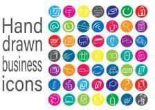 Ensemble de symboles tiré par la main d'affaires Image libre de droits