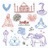 Ensemble de symboles tiré par la main d'Inde de griffonnage Photographie stock libre de droits
