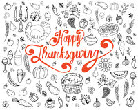 Ensemble de symboles traditionnels de thanksgiving illustration stock
