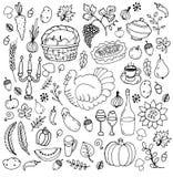 Ensemble de symboles traditionnels de thanksgiving illustration libre de droits