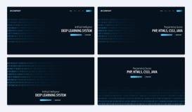 Ensemble de système d'étude profond et de cours de programmation Site Web ou page mobile d'atterrissage d'APP Illustration de vec illustration libre de droits